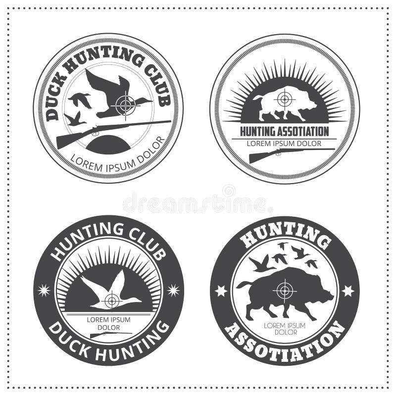 Reeks vectoremblemen van de de jachtclub met een wild varken en wilde du stock illustratie