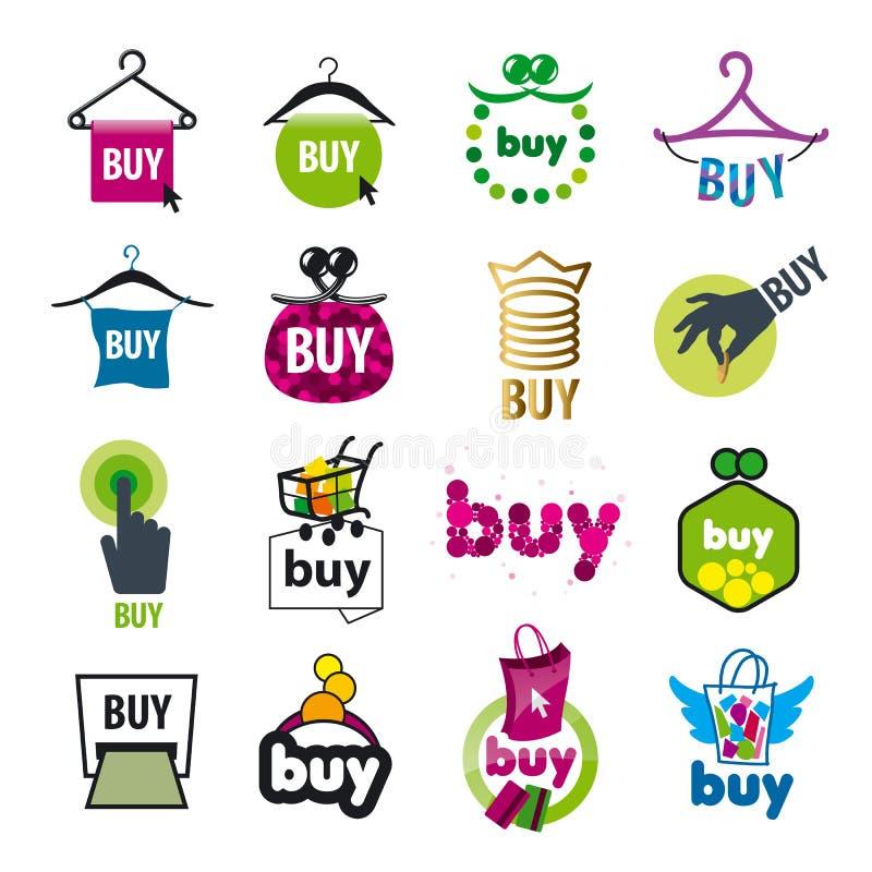 Reeks vectoremblemen voor de aankoop van goederen royalty-vrije illustratie