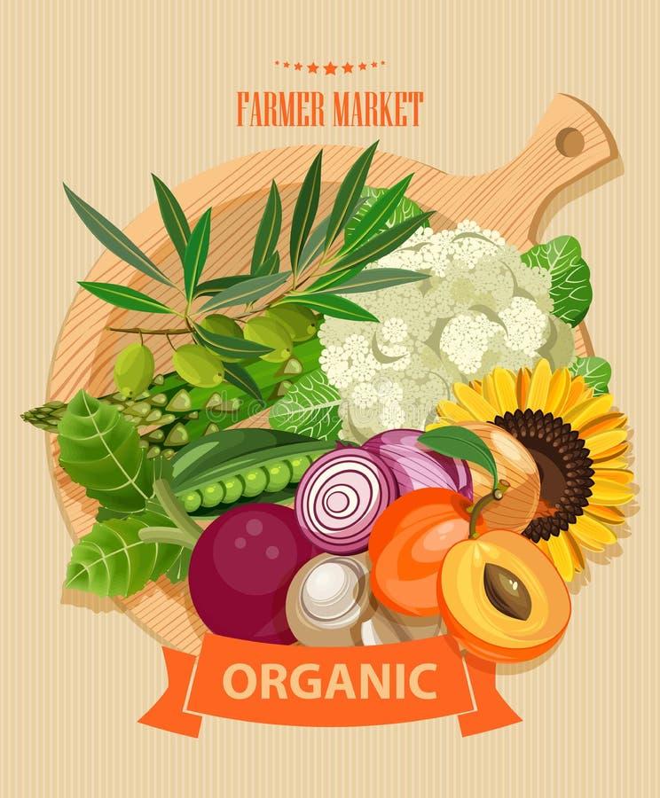 Reeks - vectorfruit, groenten en kruiden Landbouwbedrijfmarkt Reeks groenten, vruchten en kruiden schets royalty-vrije illustratie