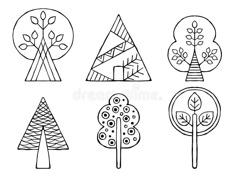 Reeks vectorhand getrokken decoratieve gestileerde zwart-witte kinderachtige bomen Krabbelstijl, grafische illustratie Sier leuk  stock illustratie