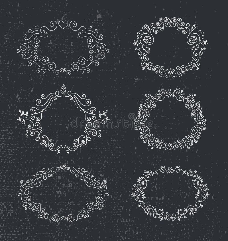 Reeks vectorhand getrokken kaders, bloemen, uitstekend ontwerp vector illustratie
