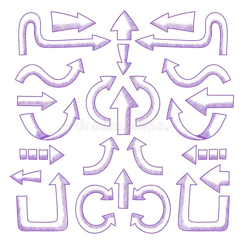 Reeks vectorhand getrokken pijlen vector illustratie