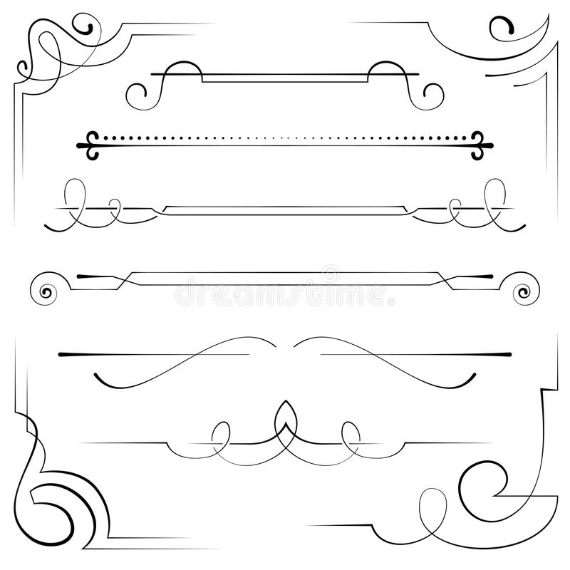 Reeks vectorhoeken en bookplate royalty-vrije illustratie