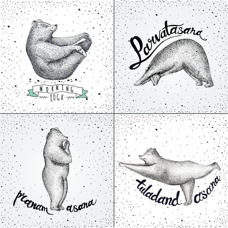 Reeks vectorillustraties pret beren op wijnoogst worden geïsoleerd die stock illustratie