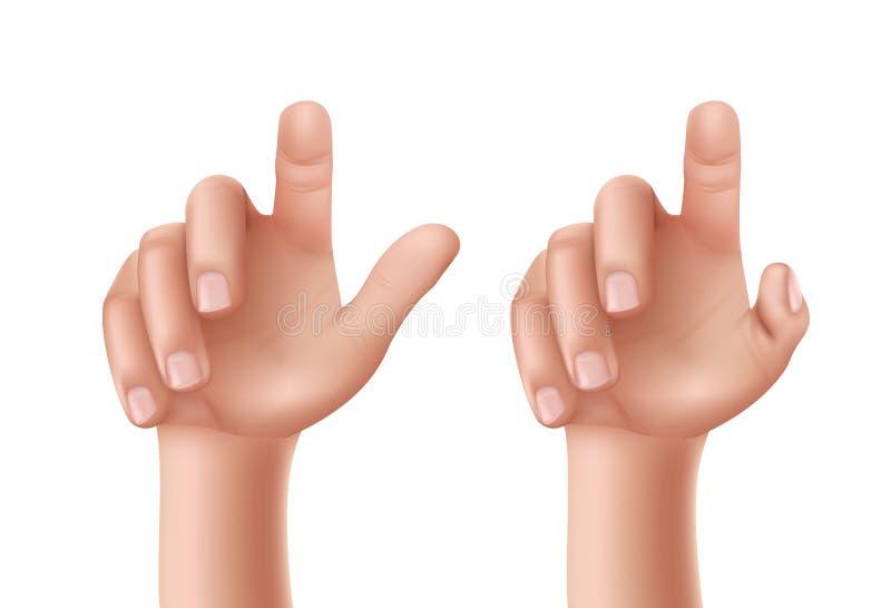 Reeks vectorillustraties van een mannelijke of vrouwelijke hand met een opgeheven wijsvinger royalty-vrije illustratie