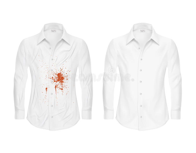 Reeks vectorillustraties van een wit overhemd met een rode vlek en schoon, before and after een droog-reinigingsmachine stock illustratie