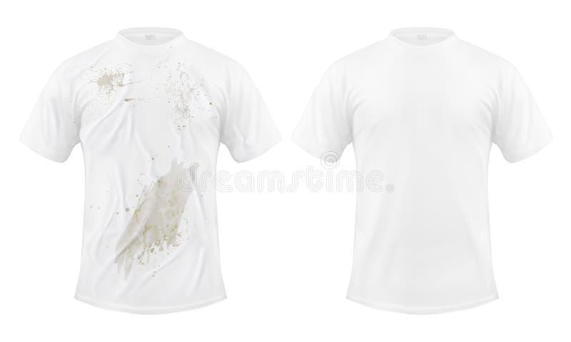 Reeks vectorillustraties van een witte T-shirt met een vuile vlek en schoon, before and after chemisch reinigen vector illustratie