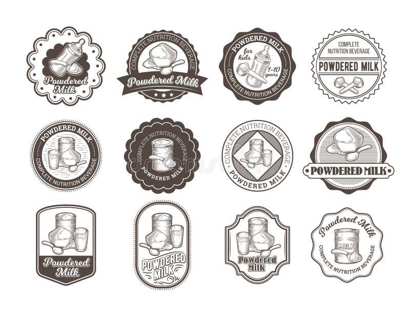Reeks vectorillustraties van kentekens van droge melk royalty-vrije illustratie