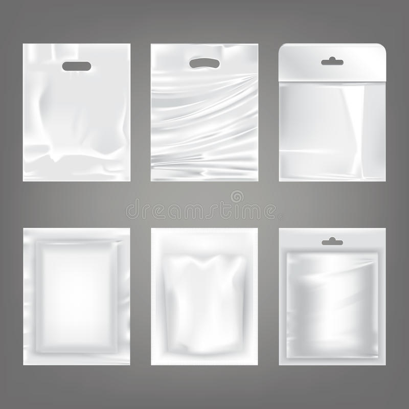 Reeks vectorillustraties van witte plastic lege zakken, verpakking royalty-vrije illustratie
