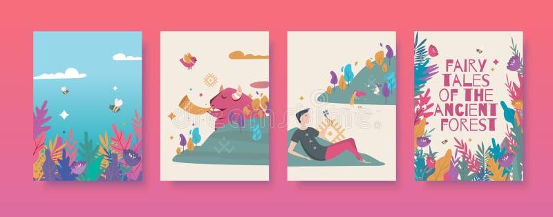 Reeks vectorillustraties voor de sprookjes over het oude bosboek royalty-vrije stock foto