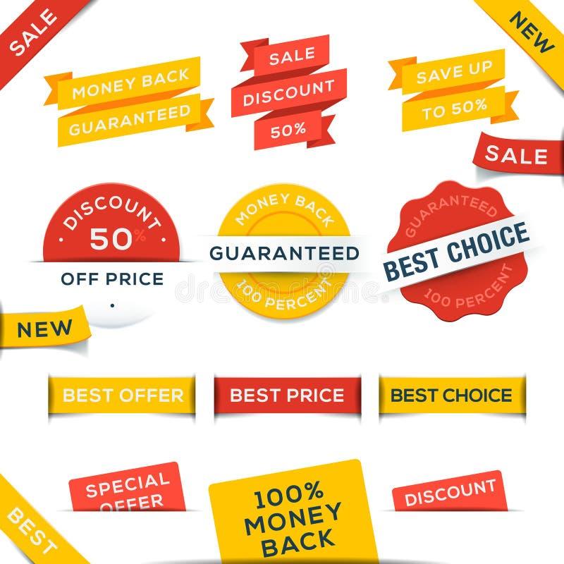 Reeks vectorkentekens en stickers royalty-vrije illustratie