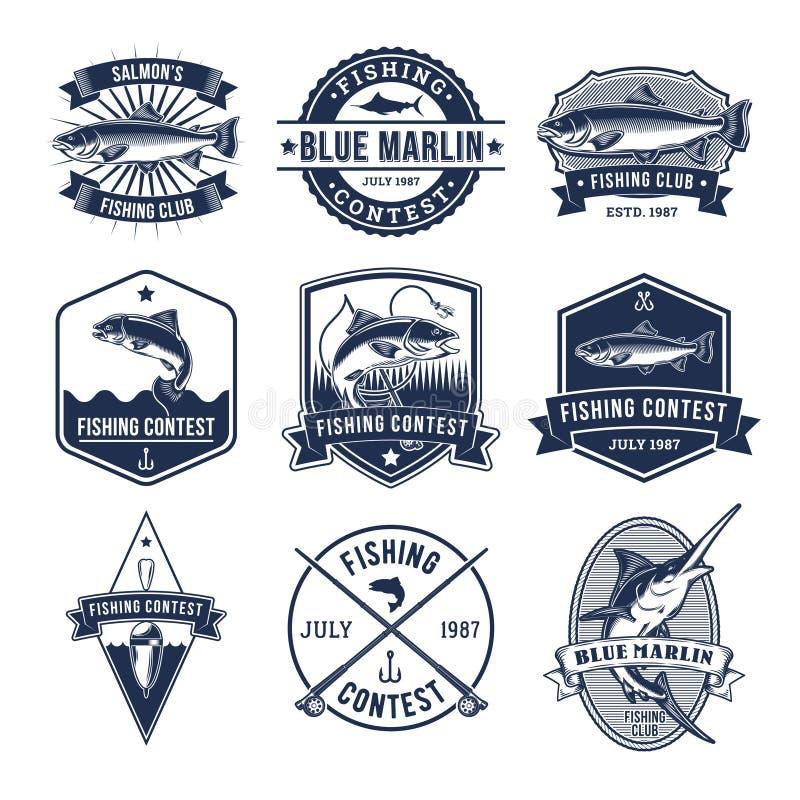 Reeks vectorkentekens, stickers bij het vangen van vissen stock illustratie