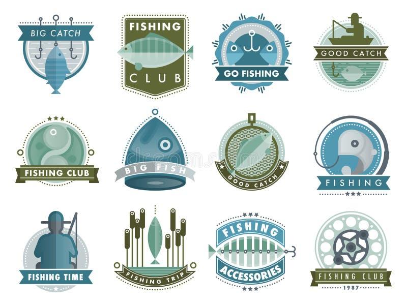 Reeks vectorkentekensstickers bij het vangen van het avontuur van vissenzeevruchten van het de winkelkenteken van de visserijclub stock illustratie