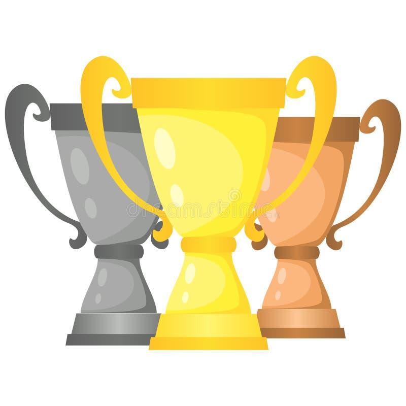 Reeks vectorkoppen van de trofeekampioen in goud, zilver en brons royalty-vrije illustratie