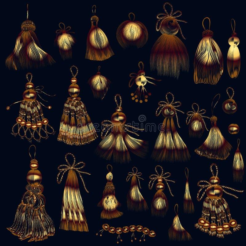 Reeks vectorleeswijzers in gouden kleur voor ontwerp stock illustratie