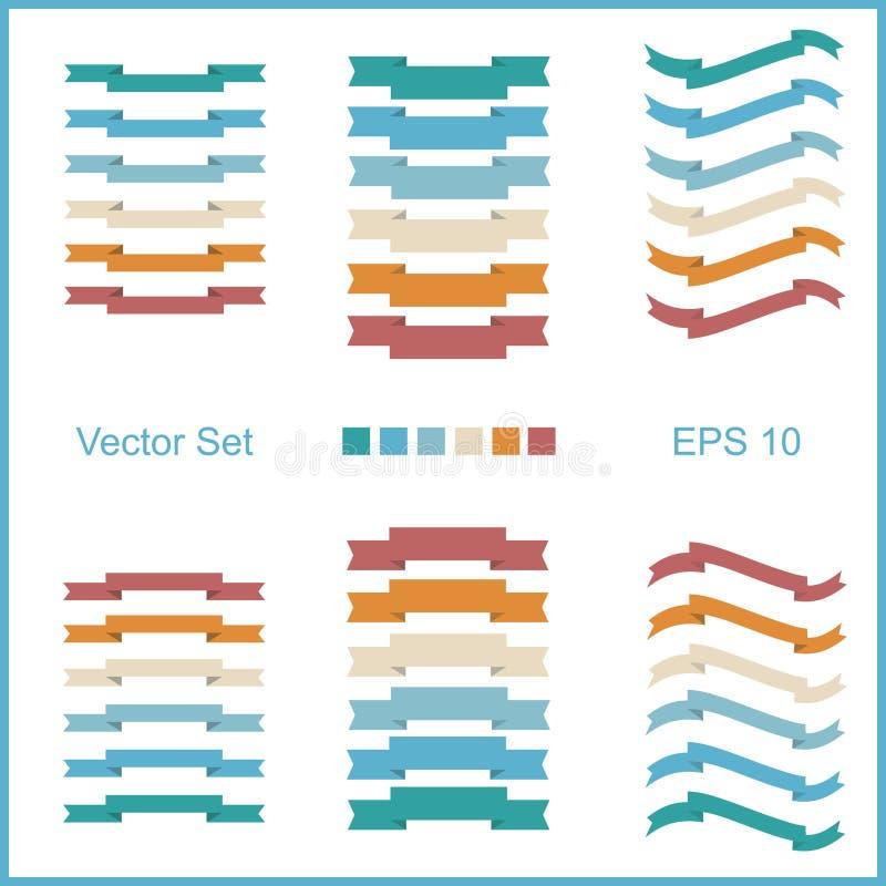 Reeks vectorlinten voor het van letters voorzien in retro stijl Vier soorten kleuren voor uw choises royalty-vrije illustratie