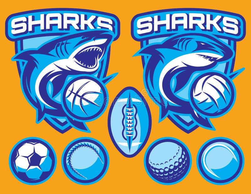Reeks vectormalplaatjes voor sportenkentekens met haaien en ballen stock illustratie