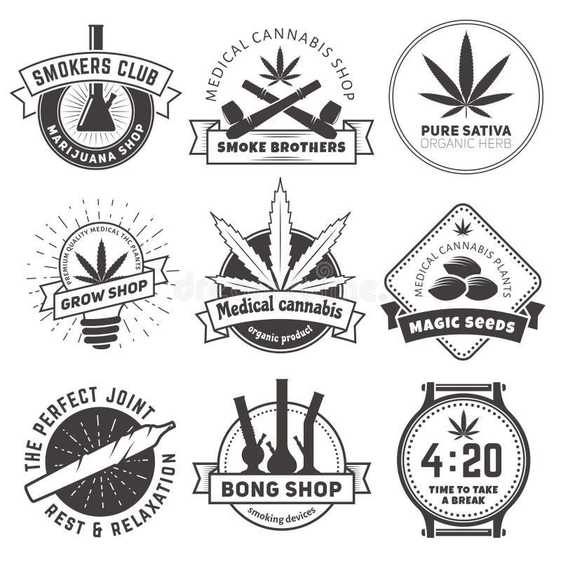 Reeks vectormarihuana rokende kentekens stock foto's