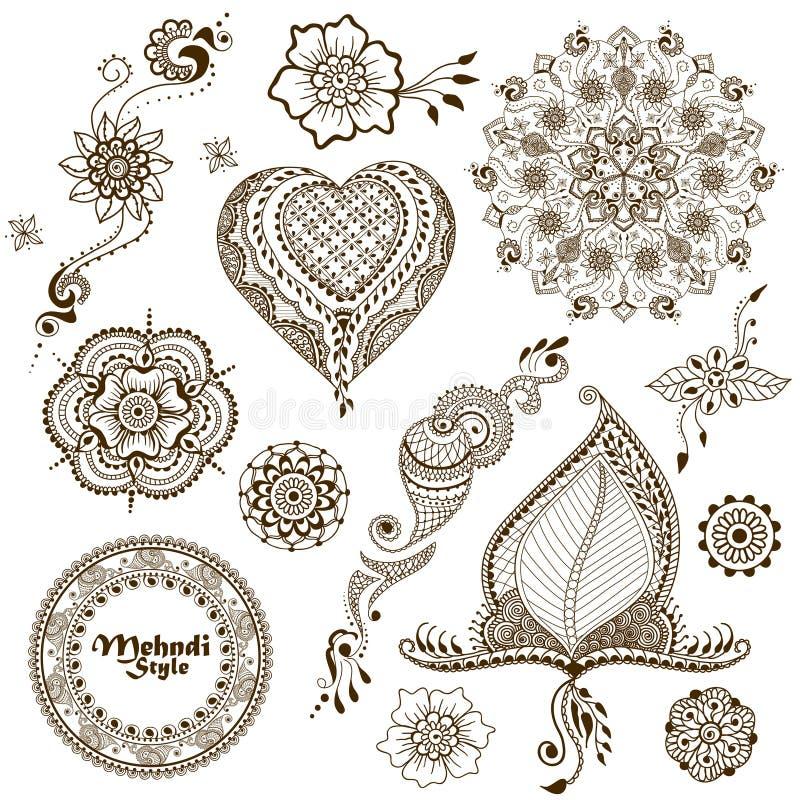 Reeks vectorornamenten in Indische stijl Mehndi sier bloemenelementen stock illustratie