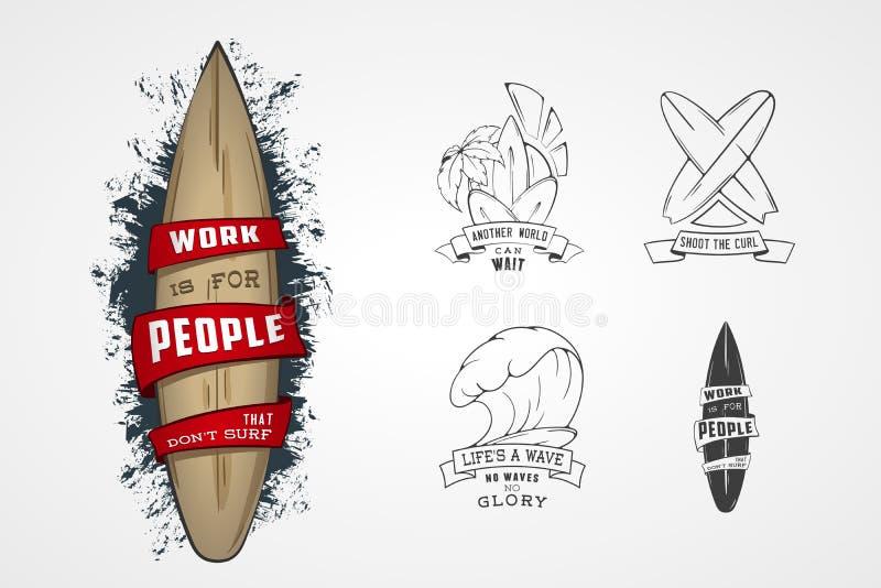 Reeks vectorpatronen voor ontwerpemblemen op thema van water, het surfen, oceaan, overzees, palm, lint, golf, surfbord stock illustratie