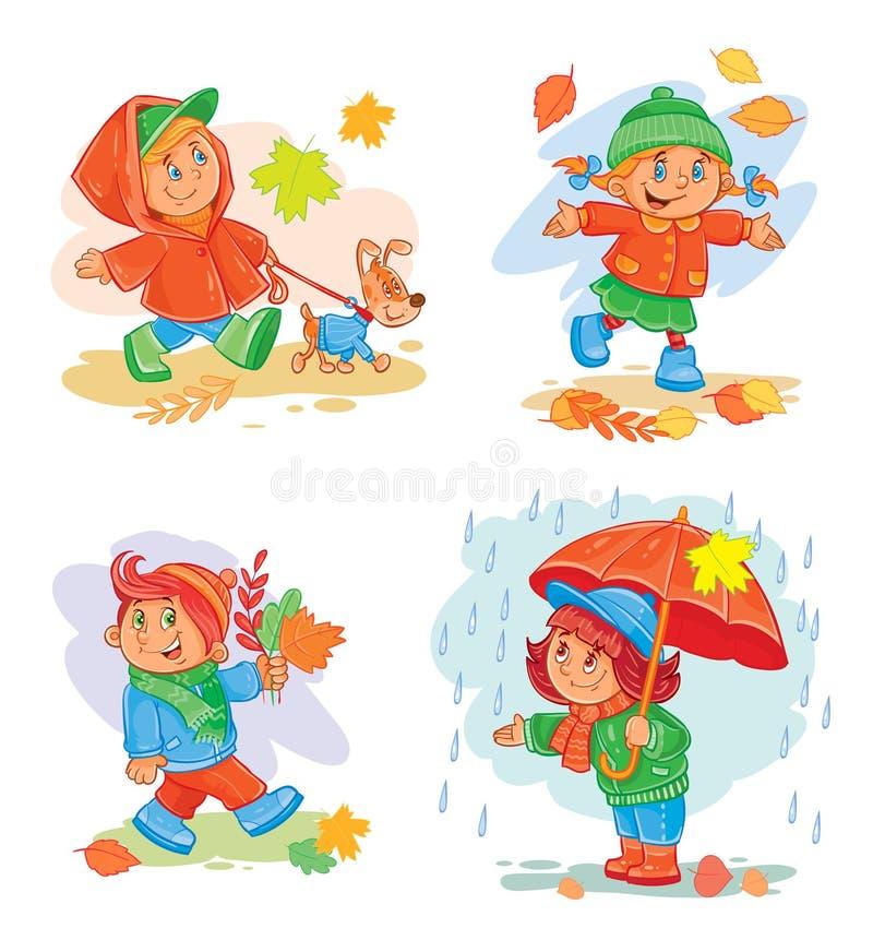 Reeks vectorpictogrammen kleine kinderen vector illustratie