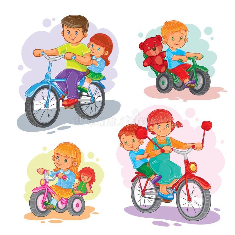 Reeks vectorpictogrammen kleine kinderen op fietsen royalty-vrije illustratie