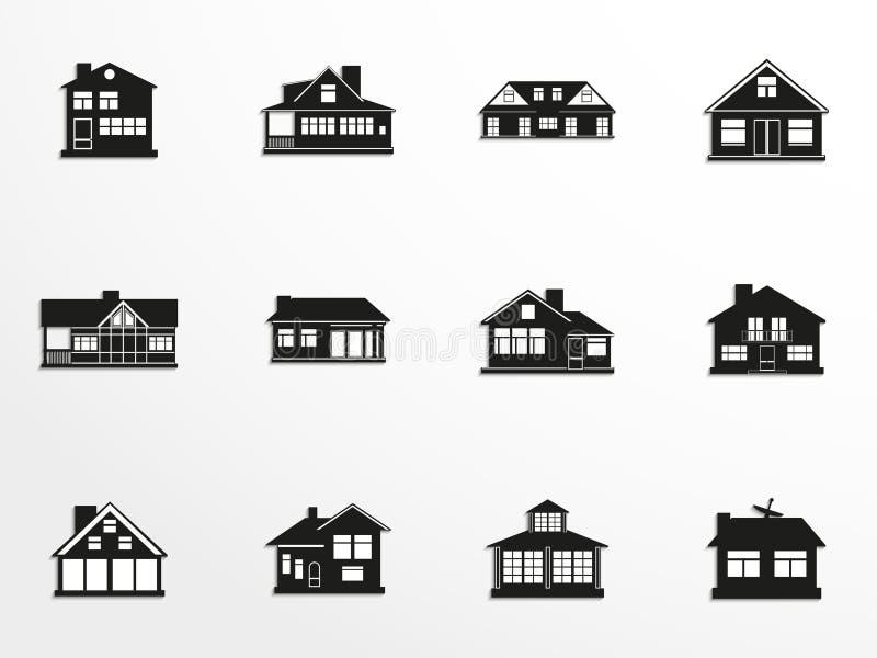 Reeks vectorpictogrammen op het thema van woonhuizen royalty-vrije illustratie