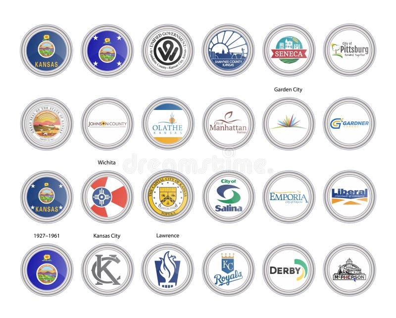 Reeks vectorpictogrammen Vlaggen en verbindingen van de staat van Kansas, de V.S. royalty-vrije illustratie
