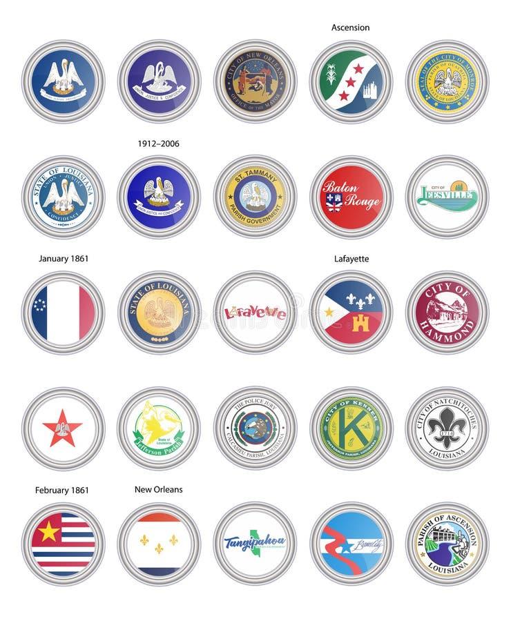 Reeks vectorpictogrammen Vlaggen en verbindingen van de staat van Louisiane, de V.S. stock illustratie