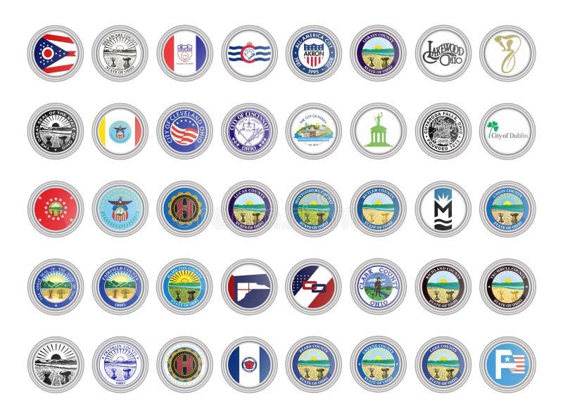 Reeks vectorpictogrammen Vlaggen en verbindingen van de staat van Ohio, de V.S. stock illustratie
