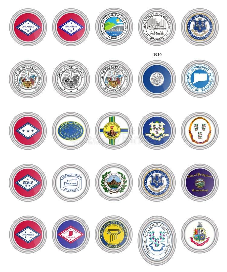 Reeks vectorpictogrammen Vlaggen van de staten van Arkansas en van Connecticut, de V.S. vector illustratie