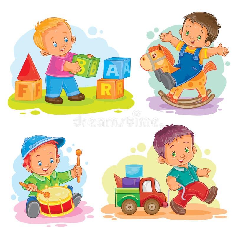 Reeks vectorpictogrammen weinig jongen die met speelgoed spelen vector illustratie