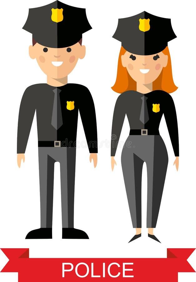 Reeks vectorpolitievolkeren, politieagent en politievrouw royalty-vrije illustratie
