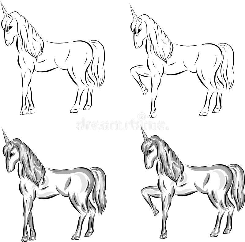Reeks vectorschetseenhoorns vector illustratie