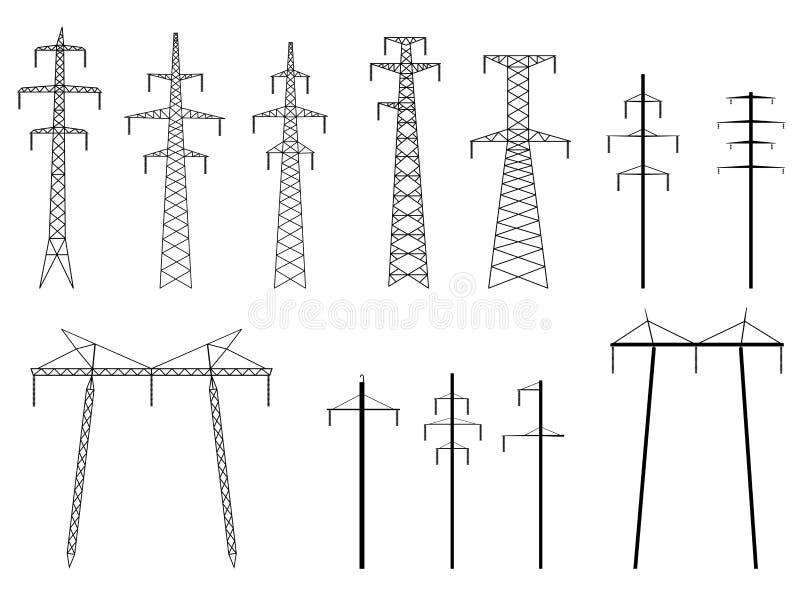 Reeks vectorsilhouetten van de lijn van de pylonenmacht. vector illustratie