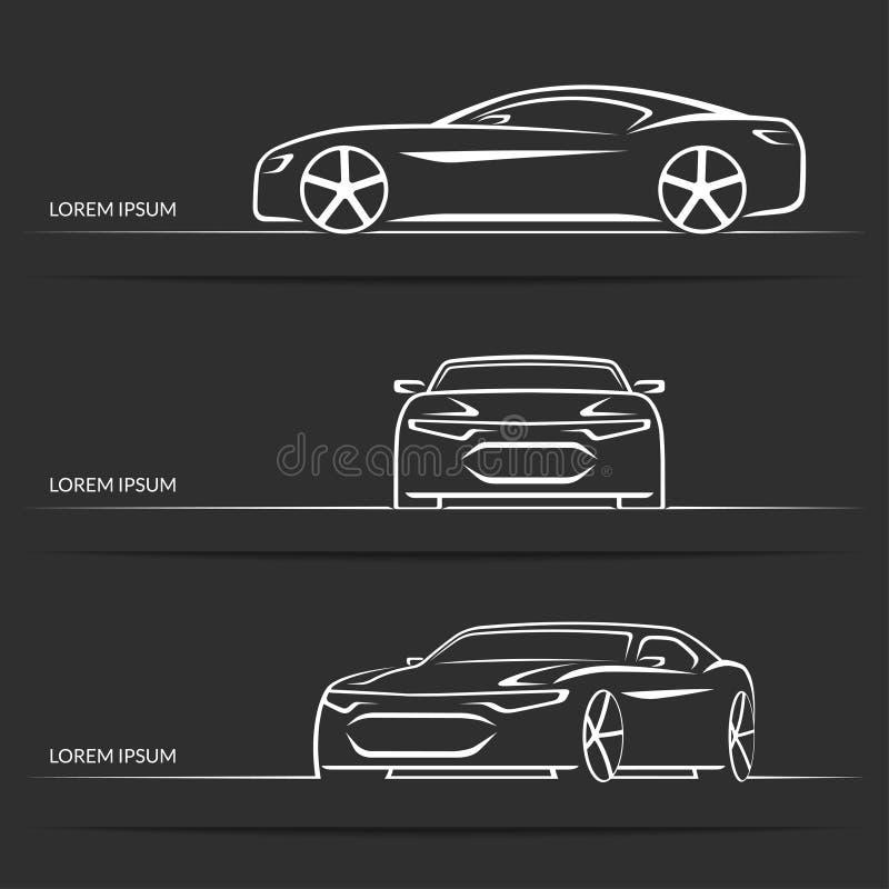 Reeks vectorsportwagensilhouetten royalty-vrije illustratie