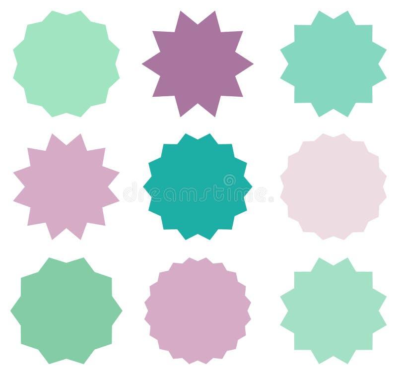 Reeks vectorstarburstsymbolen in wintertaling, munt en violette kleuren Zonnestraal lege etiketten of stickers voor de markeringe stock illustratie