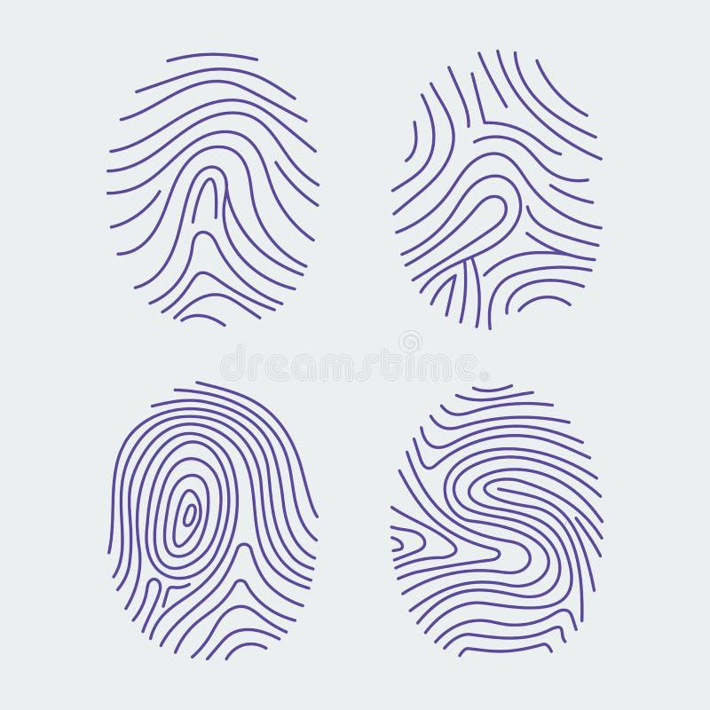 Reeks vectorvingerafdrukken Biometrische gegevens royalty-vrije illustratie
