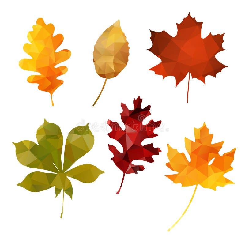 Reeks veelhoekige bladeren van de dalingsherfst, royalty-vrije illustratie