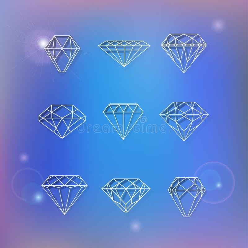 Reeks veelhoekige diamanten stock illustratie