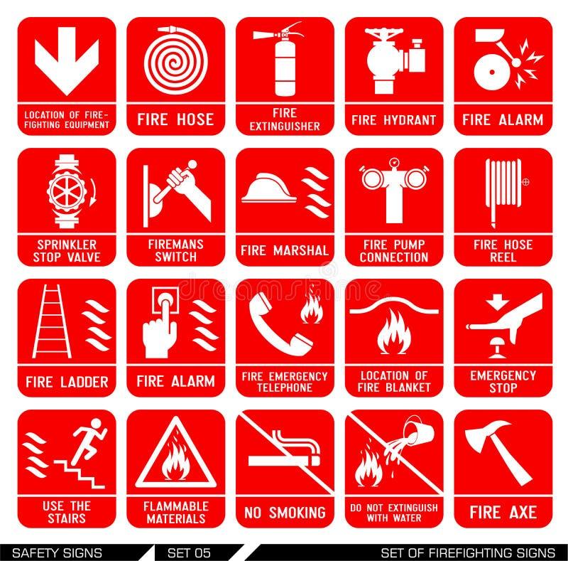Reeks veiligheidstekens Brandbestrijdingspictogrammen royalty-vrije illustratie