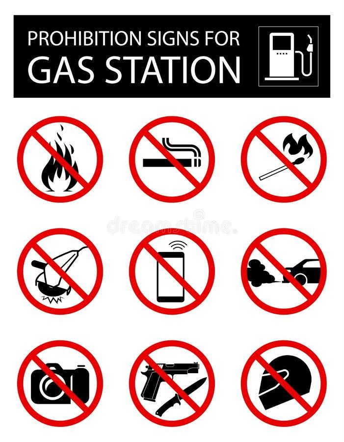 Reeks verbodstekens voor benzinestation stock illustratie