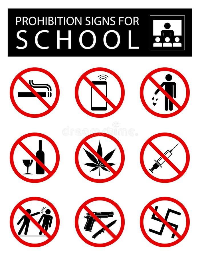 Reeks verbodstekens voor school vector illustratie