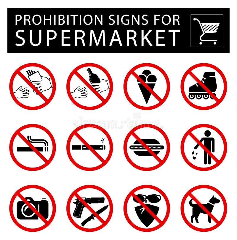 Reeks verbodstekens voor supermarkt royalty-vrije illustratie