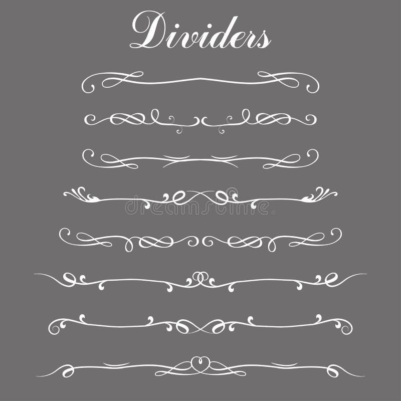 Reeks verdelers, grenslijnen of verdelerlijnen royalty-vrije illustratie