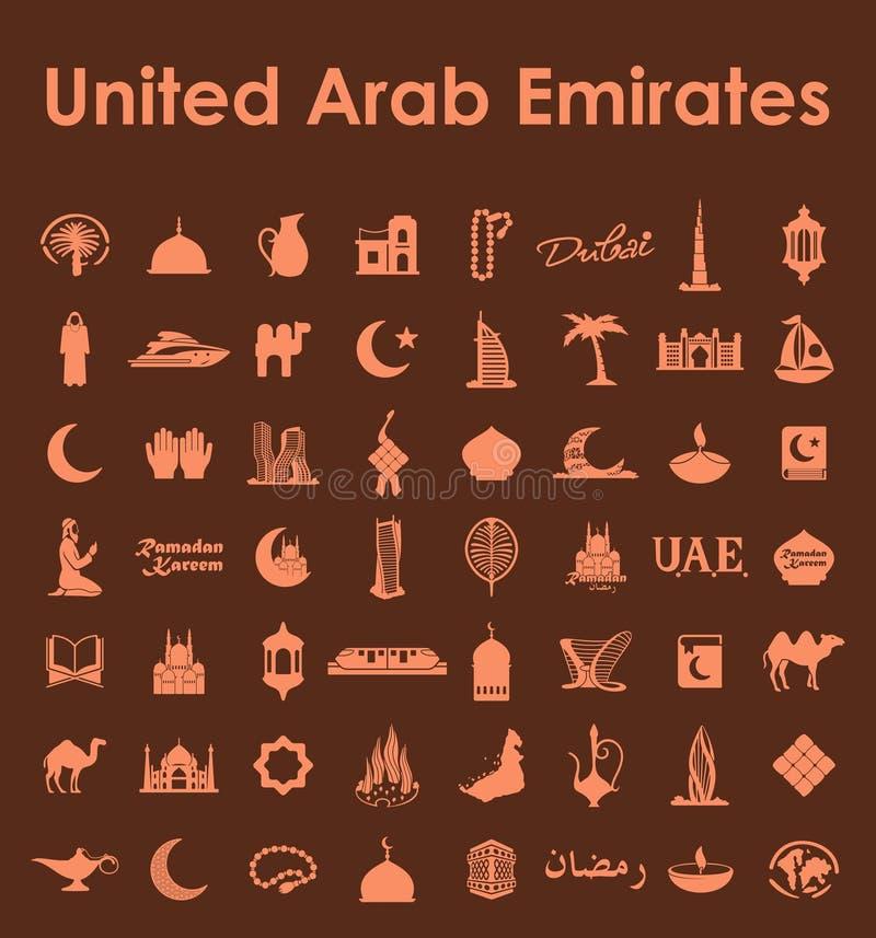 Reeks Verenigde Arabische eenvoudige pictogrammen van Emiraten vector illustratie