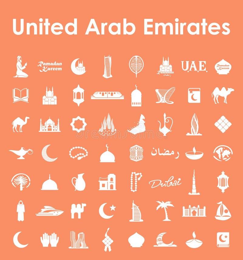 Reeks Verenigde Arabische eenvoudige pictogrammen van Emiraten stock illustratie