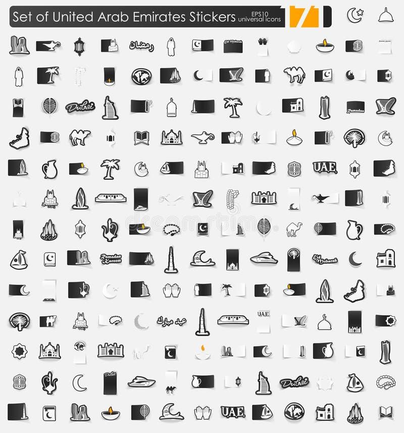 Reeks Verenigde Arabische stickers van Emiraten stock illustratie