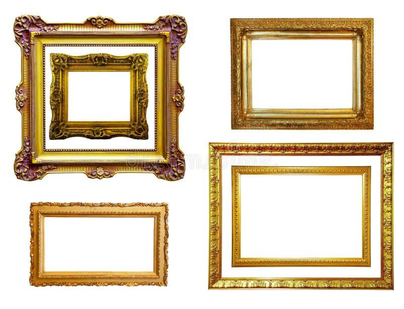Reeks vergulde frames. Geïsoleerd$ over wit stock fotografie