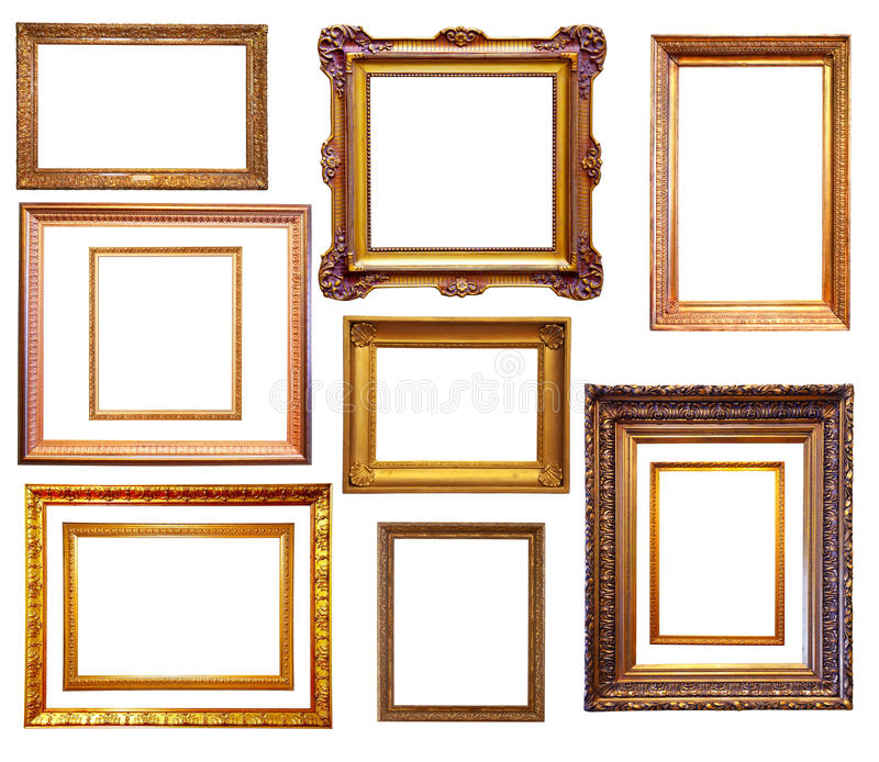 Reeks vergulde frames Geïsoleerd over witte achtergrond royalty-vrije stock afbeeldingen